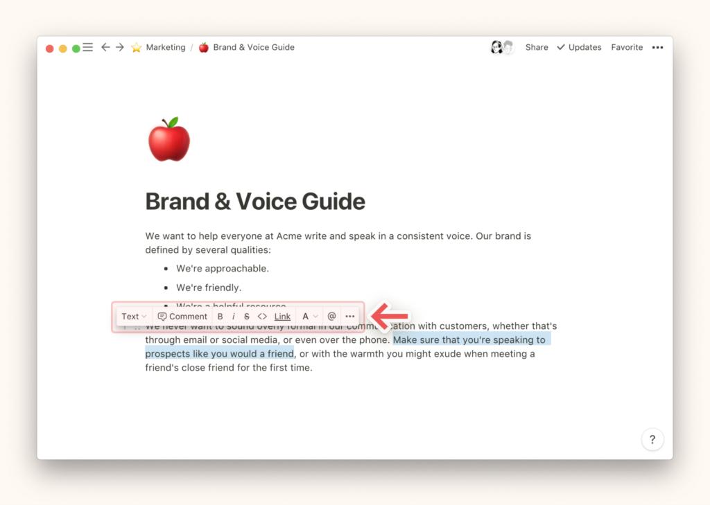 Как писать и редактировать текст в Notion